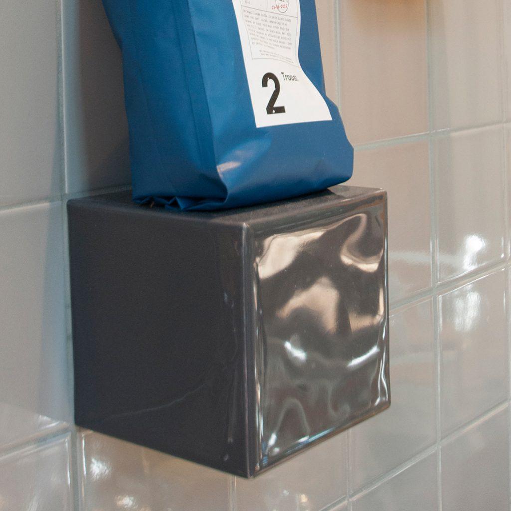 3d tegel, kleur grafiet grijs, gebruik in horeca, keuken of badkamer