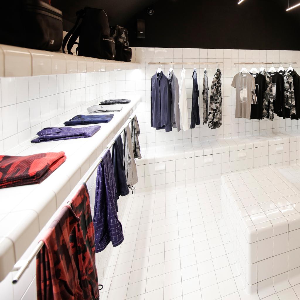 toonbank winkel design afgeronde tegel
